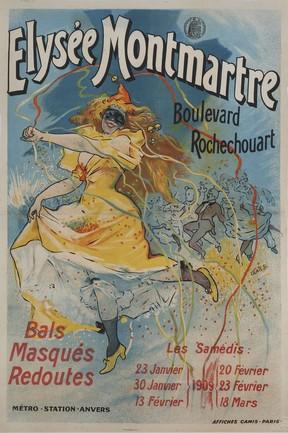 Jules Chéret, Bal de l'Elysée Montmartre, affiche lithographique coll. Du Musée de Monstmartre, Paris.
