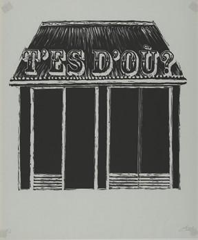 T'es d'où ? gravure sur bois, 2010 imprimée lors d'une résidence sur les presse de l'école d'arts plastiques